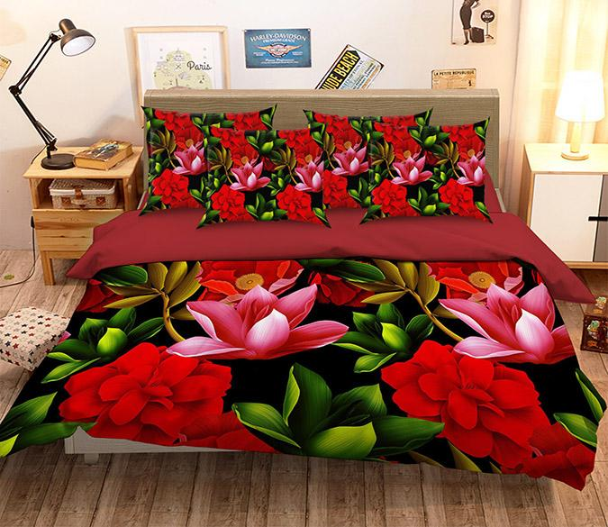 3D Bright Flowers 273 Bed Pillowcases Quilt