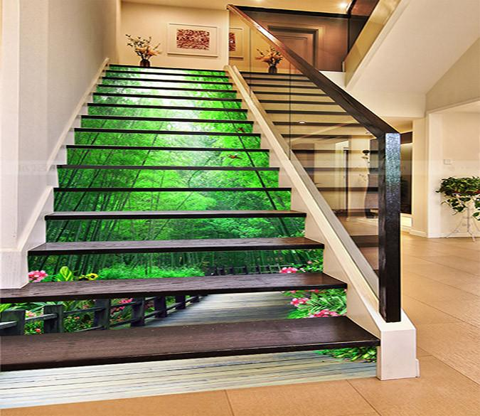 3D Bamboo Forest Wood Road 941 Stair Risers Wallpaper AJ Wallpaper
