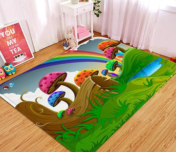 3D Cartoon Mushrooms Rainbow 76 Non Slip Rug Mat Mat AJ Creativity Home