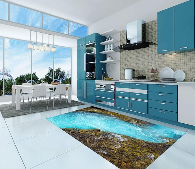 3D Blue Creek 134 Kitchen Mat Floor Mural