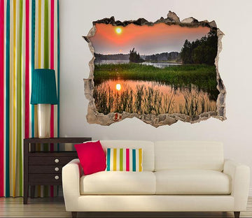 3D Lake Sunset View 123 Broken Wall Murals Wallpaper AJ Wallpaper