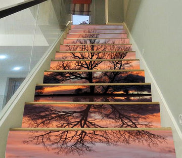 3D Lakeside Tree Sunset Scenery 502 Stair Risers Wallpaper AJ Wallpaper