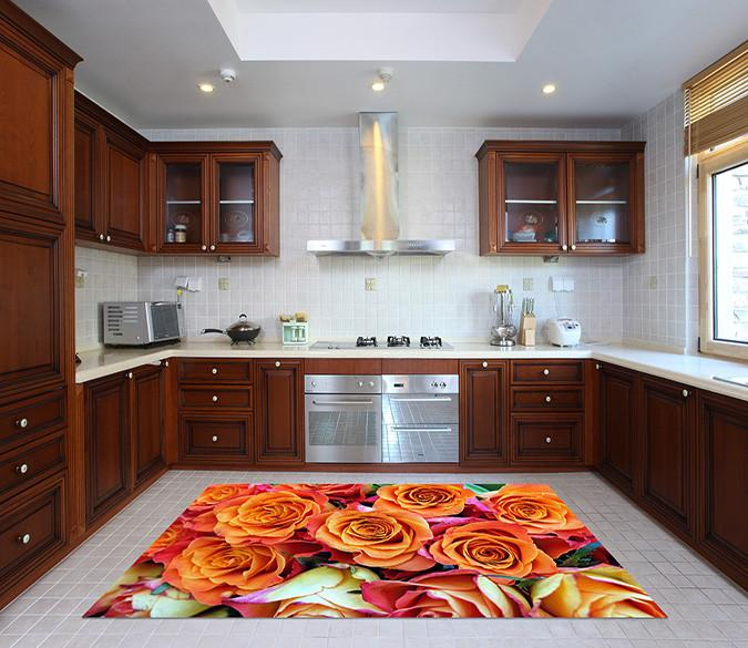 3D Beautiful Roses Kitchen Mat Floor Mural