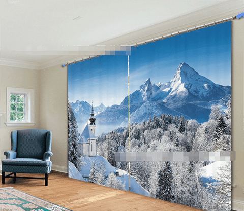 3D Snow Mountain Scenery 2183 Curtains Drapes