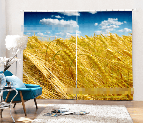 3D Mature Wheat 2222 Curtains Drapes