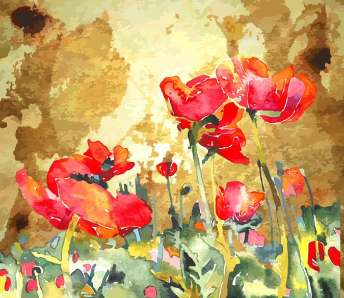 Red Flowers 2 Paint Wallpaper AJ Wallpaper