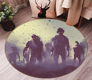 3D Zombies 59 Round Non Slip Rug Mat