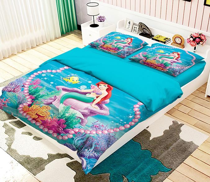 3D Pretty Mermaid 147 Bed Pillowcases Quilt