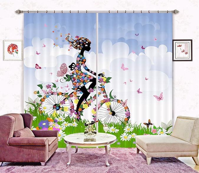 3D Flowers Girl Bike 2259 Curtains Drapes