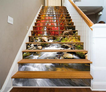 3D Waterfall Autumn Scenery 899 Stair Risers Wallpaper AJ Wallpaper