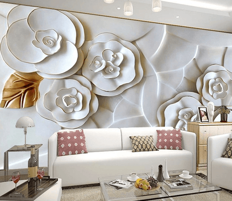 White 3D Flowers - AJ Walls - 1