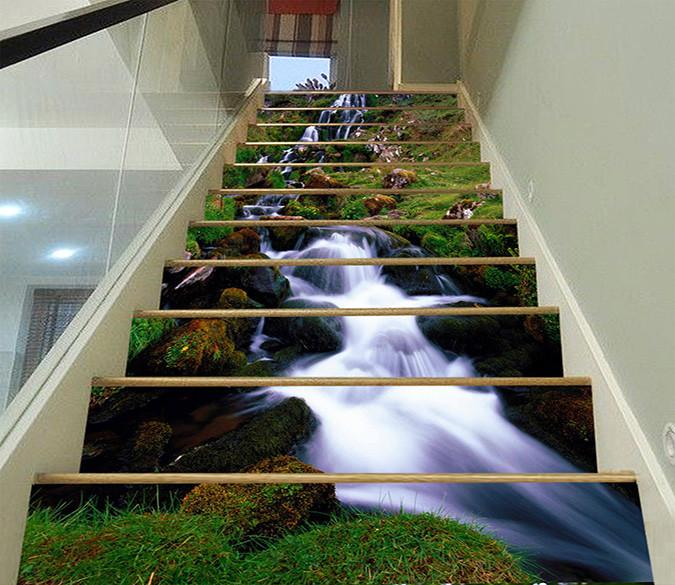 3D Beautiful Stream 1445 Stair Risers