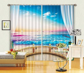 3D Balcony Pretty Sea Curtains Drapes Wallpaper AJ Wallpaper