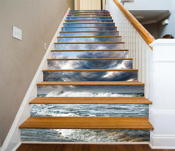 3D Cloudy Sea Waves 872 Stair Risers Wallpaper AJ Wallpaper