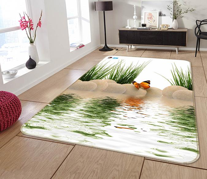 3D Lake Butterfly Stones 160 Non Slip Rug Mat Mat AJ Creativity Home