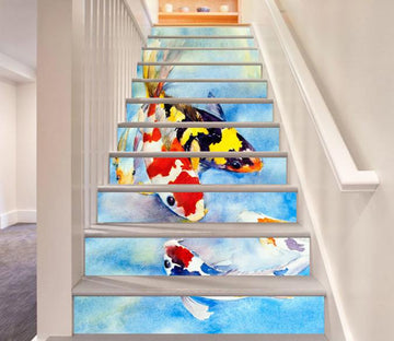 3D Colorful Fishes 482 Stair Risers Wallpaper AJ Wallpaper
