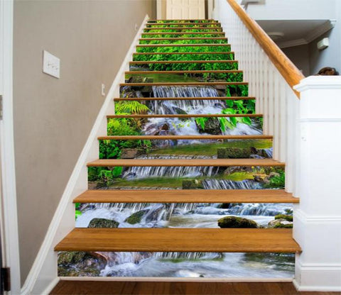 3D Flowing River 64 Stair Risers