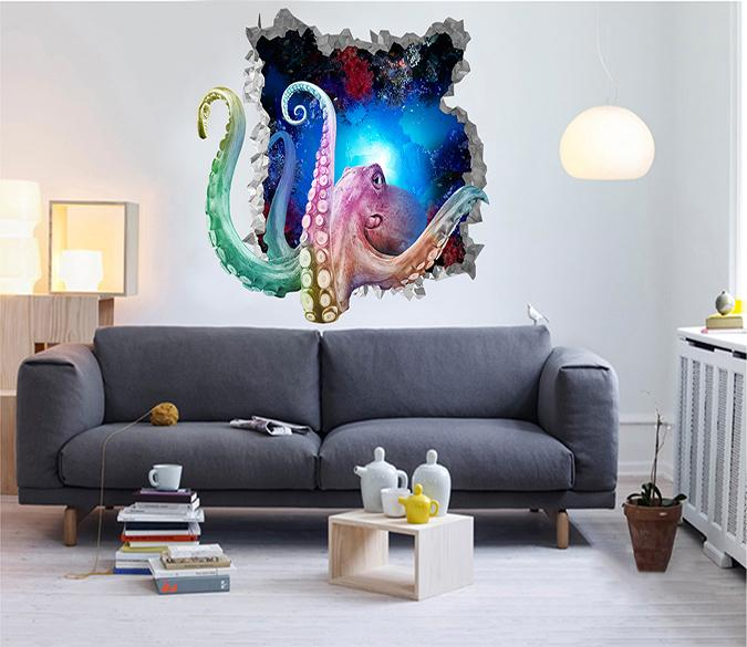 3D Ocean Octopus 216 Broken Wall Murals Wallpaper AJ Wallpaper