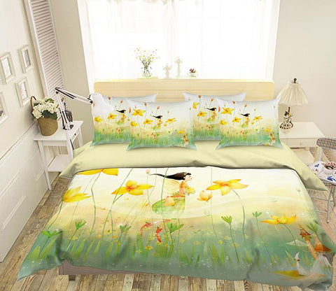3D Flying Flowers Elf 338 Bed Pillowcases Quilt