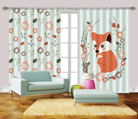 3D Fox And Flowers 2444 Curtains Drapes