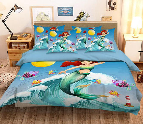3D Sea Wave Mermaid 342 Bed Pillowcases Quilt
