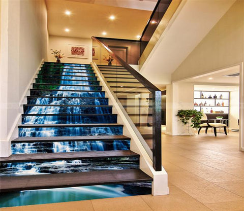 3D Rock Waterfalls 47 Stair Risers