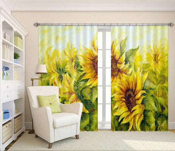 3D Sunflowers Painting 2224 Curtains Drapes Wallpaper AJ Wallpaper