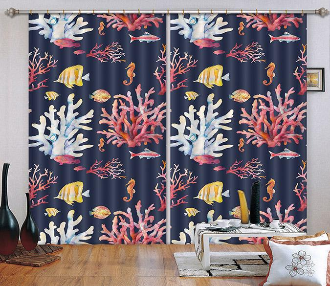3D Corals And Fishes 2345 Curtains Drapes