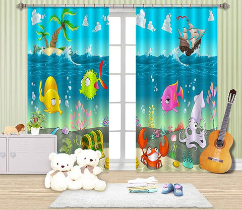3D Ocean Cartoon Fishes 2480 Curtains Drapes