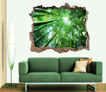 3D Bamboo Forest 088 Broken Wall Murals Wallpaper AJ Wallpaper