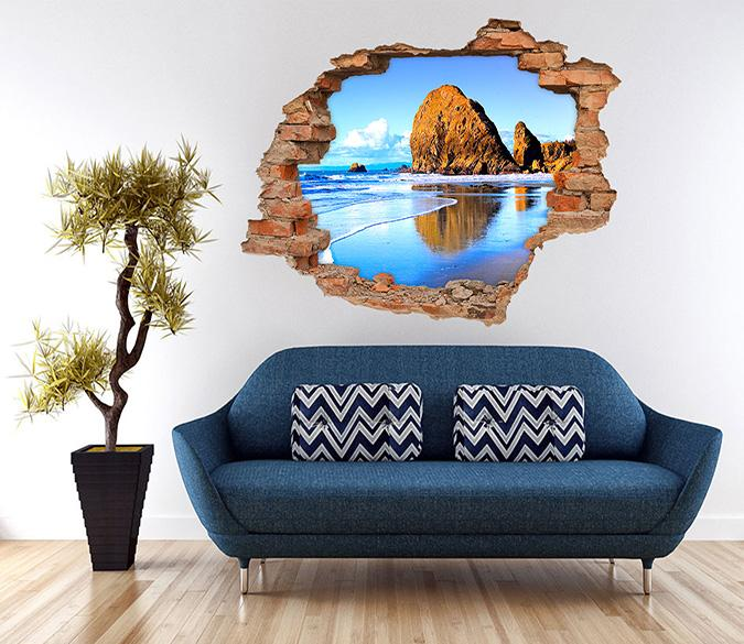 3D Blue Sea Stones 240 Broken Wall Murals
