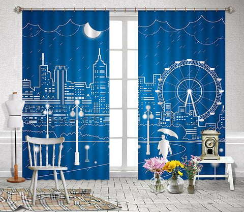 3D City Painting 2448 Curtains Drapes