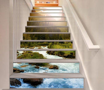 3D Riverside Forest 305 Stair Risers Wallpaper AJ Wallpaper