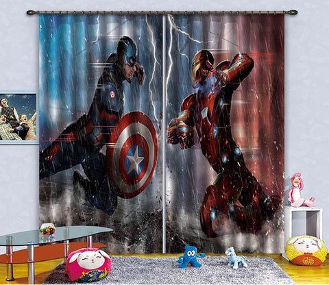 3D Powerful Heros 2474 Curtains Drapes