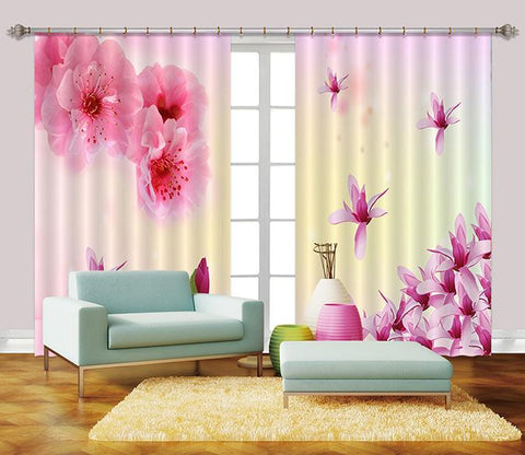 3D Flying Flowers 2454 Curtains Drapes
