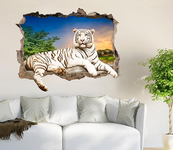 3D Sunset Tiger 157 Broken Wall Murals