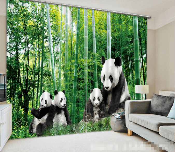 3D Bamboo Forest Pandas 1096 Curtains Drapes