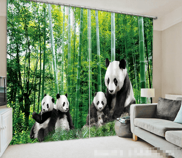 3D Bamboo Forest Pandas 1096 Curtains Drapes Wallpaper AJ Wallpaper