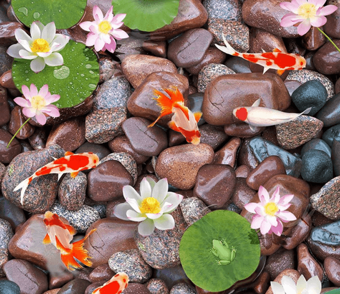 3D Wet Pebbles Floor Mural Wallpaper AJ Wallpaper 2