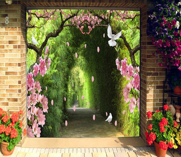 3D Bamboo Corridor Flowers Birds 312 Garage Door Mural Wallpaper AJ Wallpaper