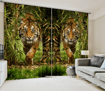 3D Bamboos And Tigers 959 Curtains Drapes Wallpaper AJ Wallpaper