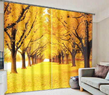 3D Autumn Yellow Trees 917 Curtains Drapes Wallpaper AJ Wallpaper