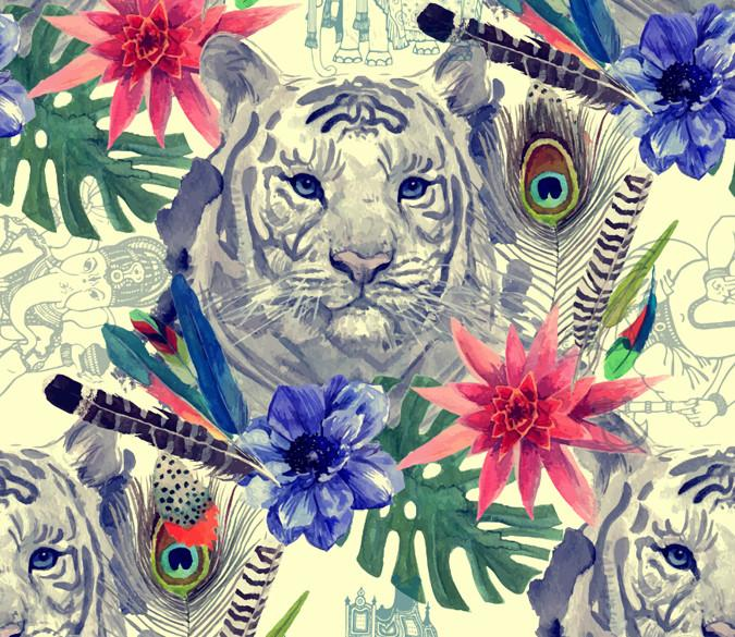 Tigers And Flowers Wallpaper AJ Wallpaper