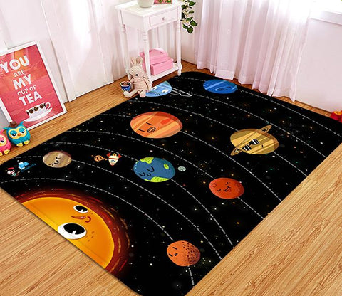 3D Cartoon Planets 92 Non Slip Rug Mat