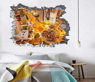3D Bright City 96 Broken Wall Murals Wallpaper AJ Wallpaper