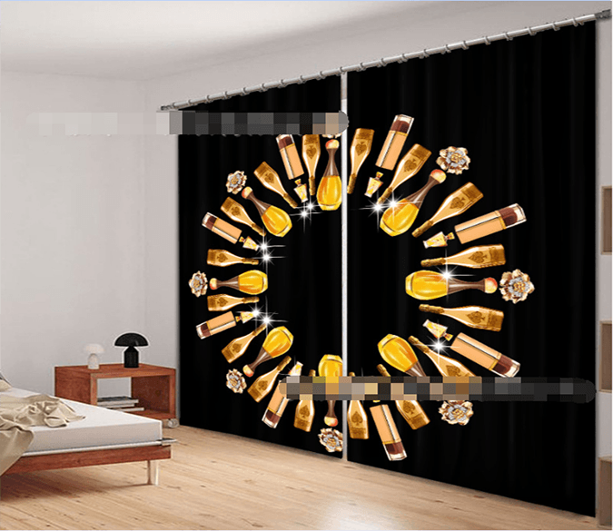 3D Shining Wine Bottles 2221 Curtains Drapes
