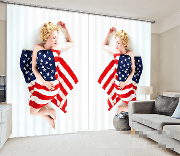 3D American Flags Women 958 Curtains Drapes Wallpaper AJ Wallpaper