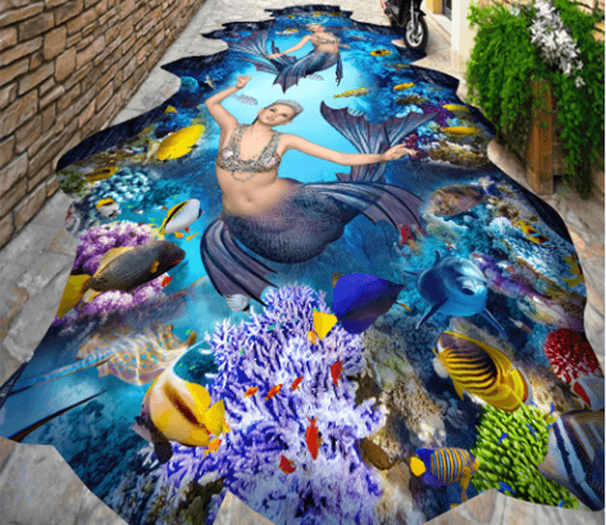 3D Graceful Mermaids Floor Mural - AJ Walls - 1