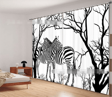 3D Bare Trees And Zebras 1122 Curtains Drapes Wallpaper AJ Wallpaper