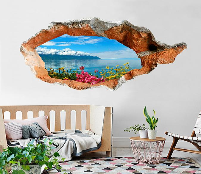 3D Blue Lake Flowers 377 Broken Wall Murals